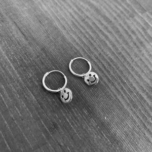 happy face hoop earrings